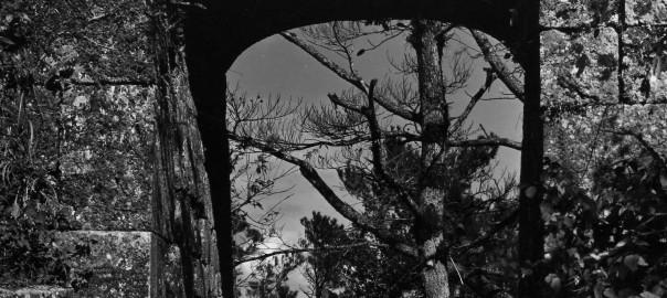 42 中城城跡 アーチ門と忠魂碑